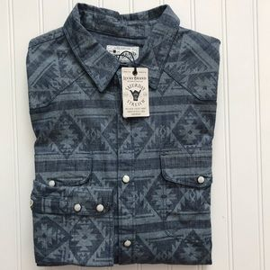 LUCKY BRAND Long Sleeve Pearl Snap Shirt! NWTS!  M